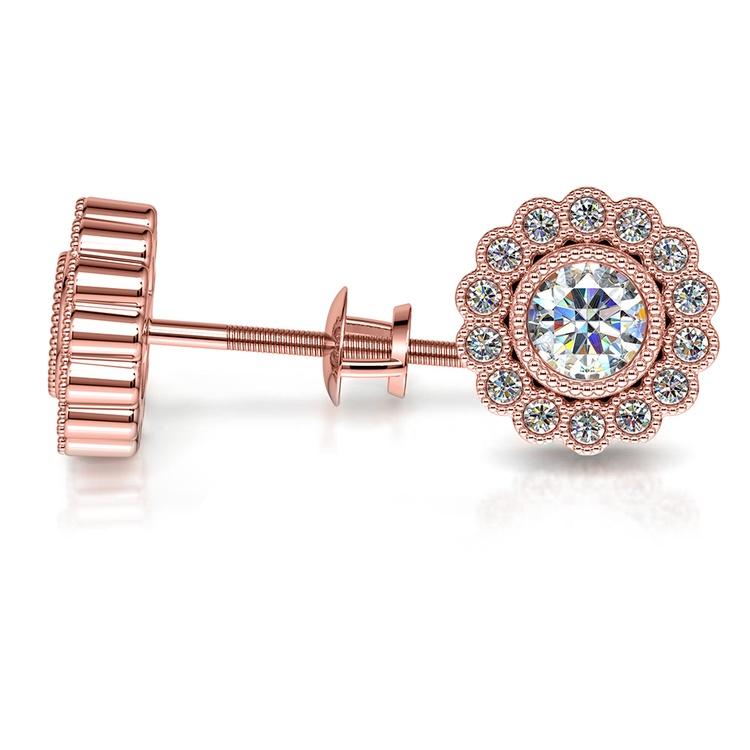 Flower Diamond Halo Earring Settings in Rose Gold | 03