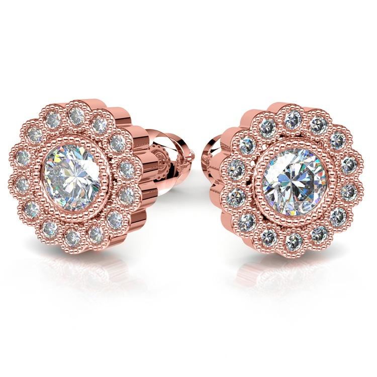 Flower Diamond Halo Earring Settings in Rose Gold | 04