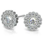 Flower Diamond Halo Earring Settings in White Gold | Thumbnail 01