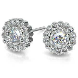Flower Diamond Halo Earring Settings in White Gold