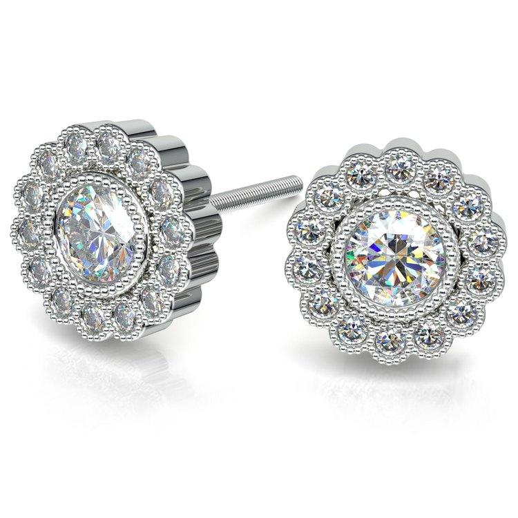 Flower Diamond Halo Earring Settings in White Gold | 01