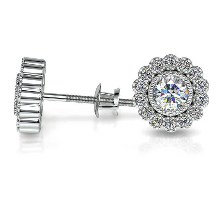 Flower Diamond Halo Earring Settings in White Gold | 03