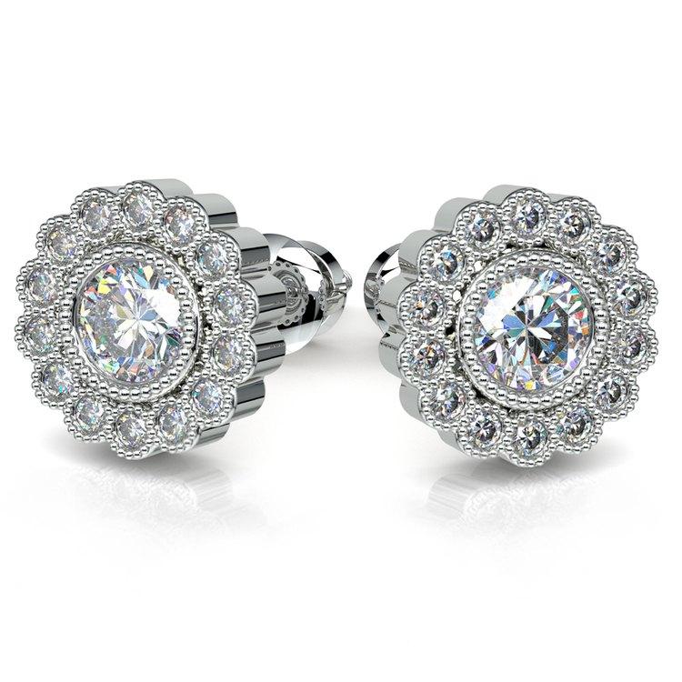 Flower Diamond Halo Earring Settings in White Gold | 04