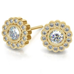 Flower Diamond Halo Earring Settings in Yellow Gold
