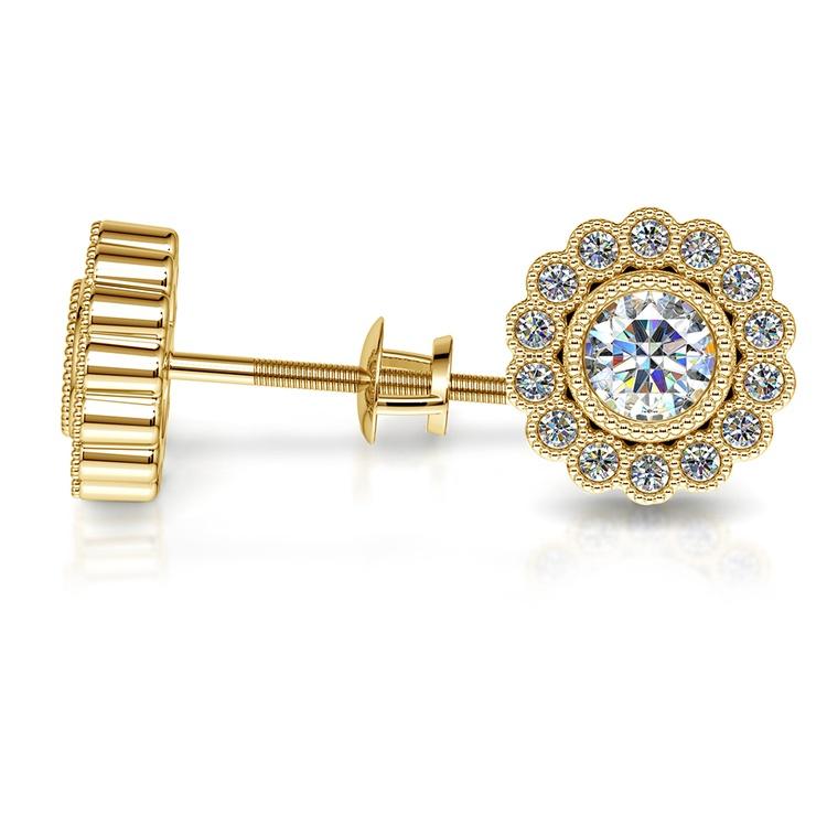 Flower Diamond Halo Earring Settings in Yellow Gold | 03