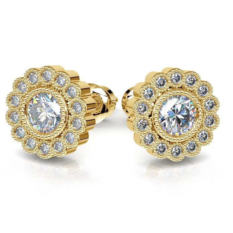 Flower Diamond Halo Earring Settings in Yellow Gold | 04