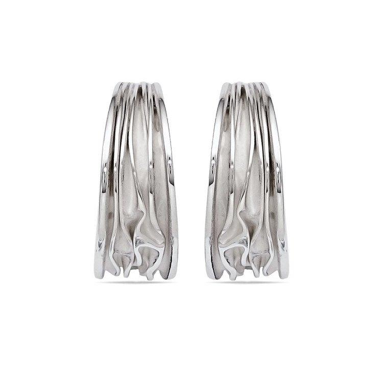 Folded C-Hoop Earrings in Silver | 02