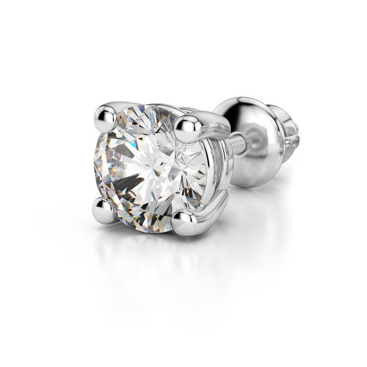 Single Four Prong Earring Setting (Round) in Platinum | 04