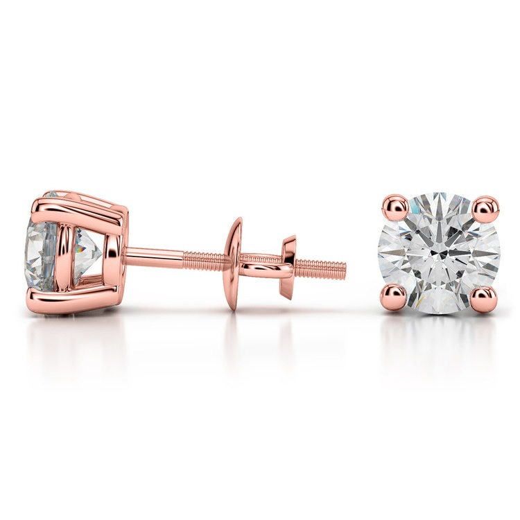 Four Prong Earring Settings (Round) in Rose Gold | 03