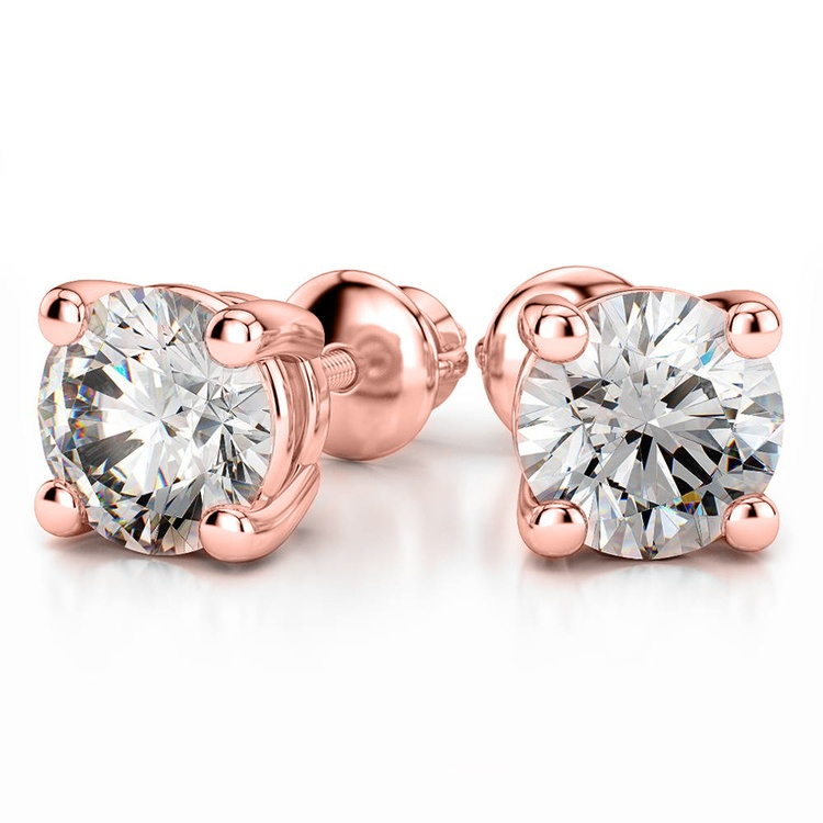 Four Prong Earring Settings (Round) in Rose Gold | 04