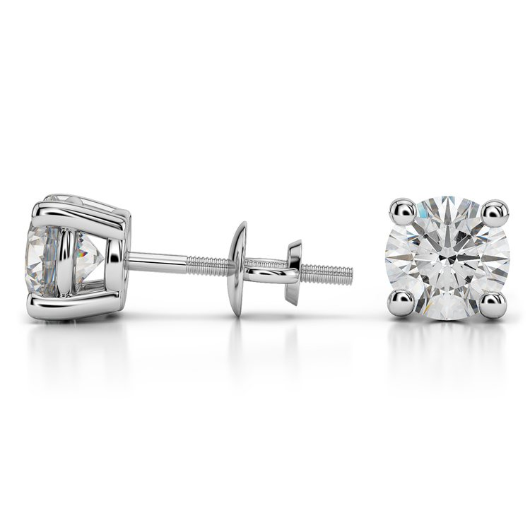 Four Prong Earring Settings (Round) in White Gold | 03