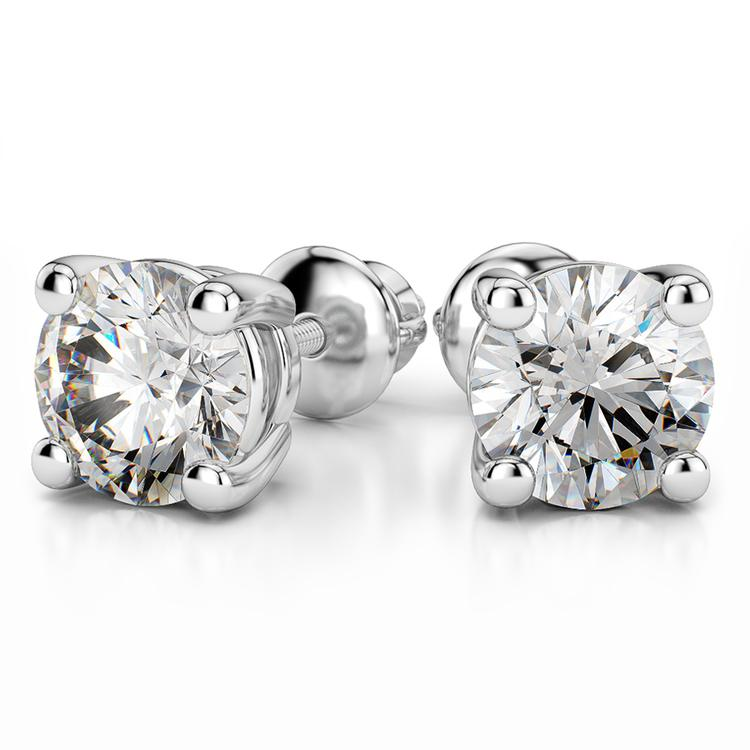 Four Prong Earring Settings (Round) in White Gold | 04
