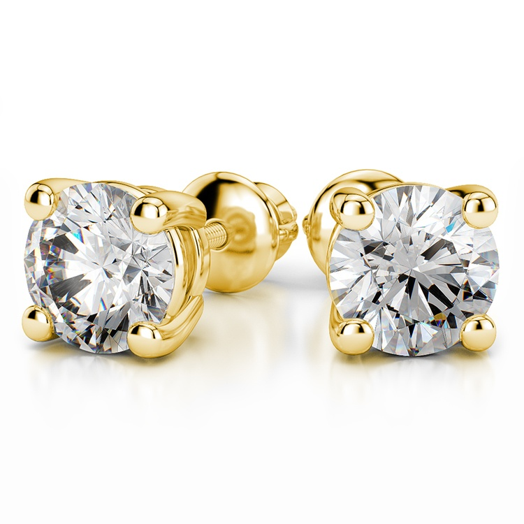 Four Prong Earring Settings (Round) in Yellow Gold | 04