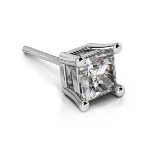 Single Four Prong Earring Setting (Square) in Platinum