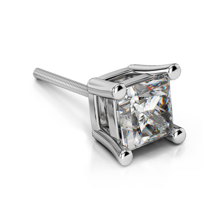Single Four Prong Earring Setting (Square) in Platinum | 01