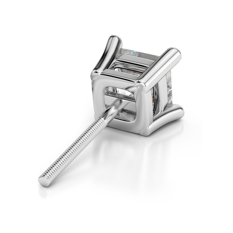 Single Four Prong Earring Setting (Square) in Platinum | 02