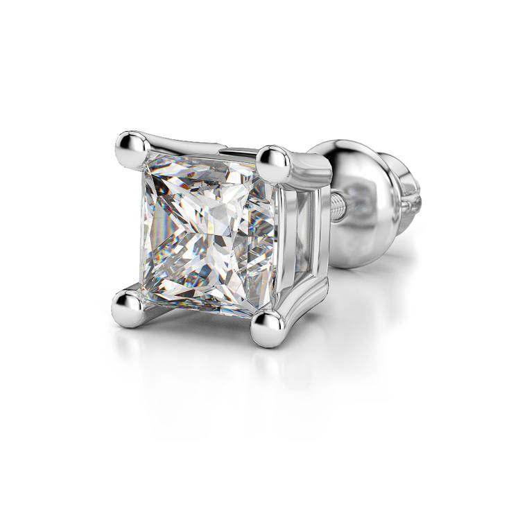 Single Four Prong Earring Setting (Square) in Platinum | 04