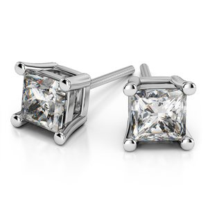 Four Prong Earring Settings (Square) in White Gold