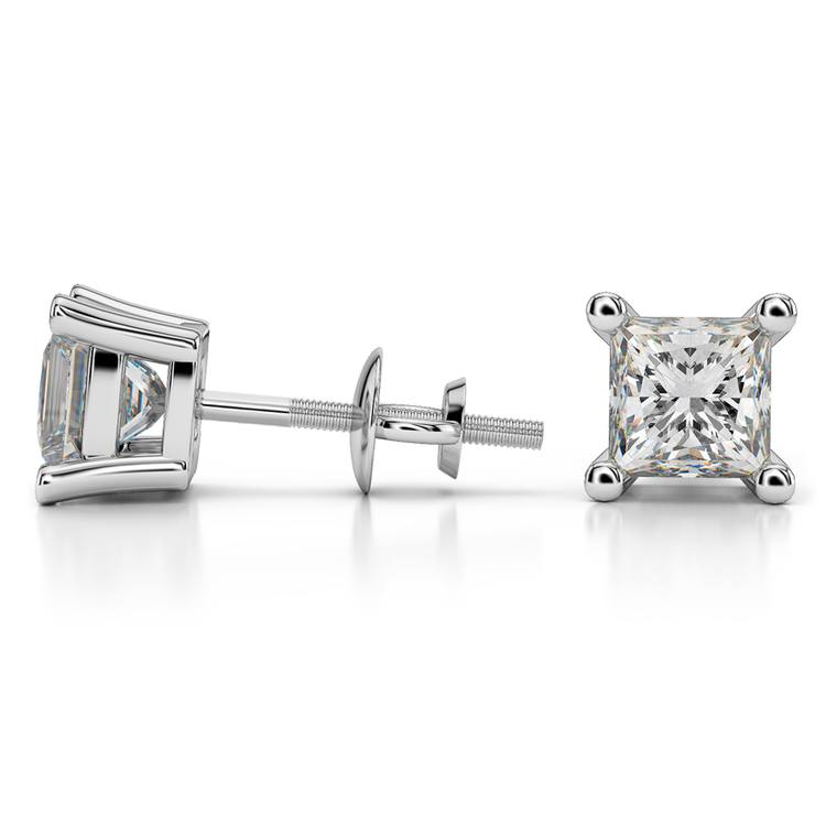 Four Prong Earring Settings (Square) in White Gold | 03