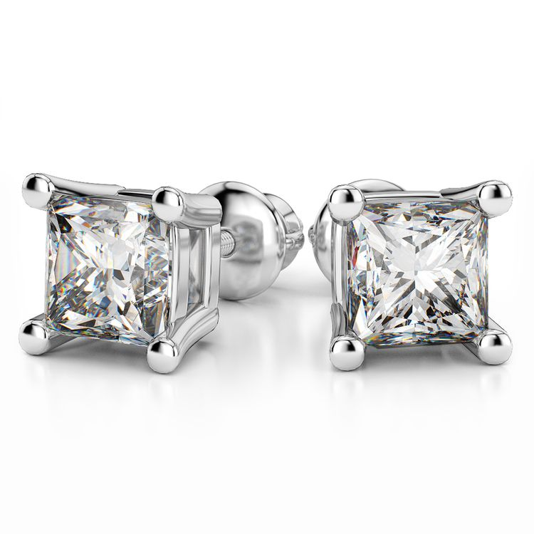 Four Prong Earring Settings (Square) in White Gold | 04