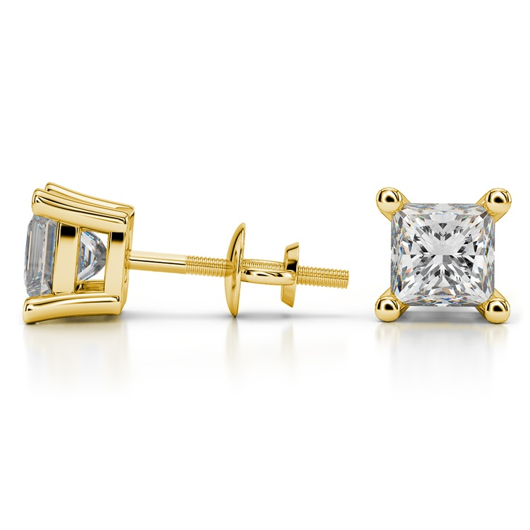 Four Prong Earring Settings (Square) in Yellow Gold | 03
