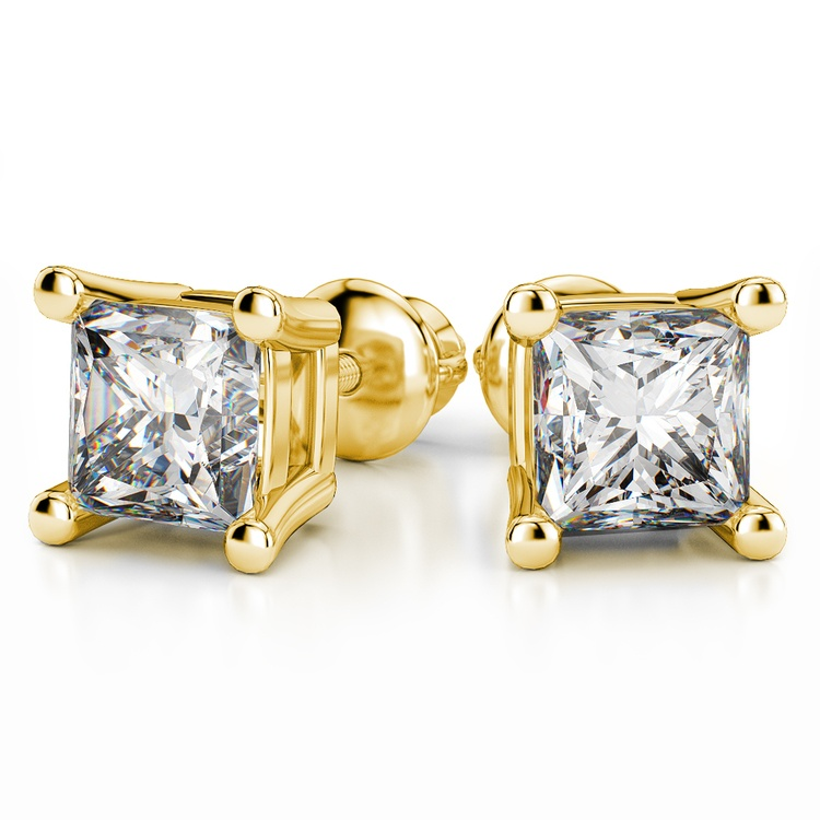 Four Prong Earring Settings (Square) in Yellow Gold | 04