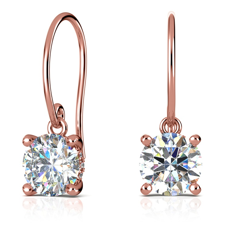 French Wire Drop Earring Settings with Diamond Basket in Rose Gold | 01