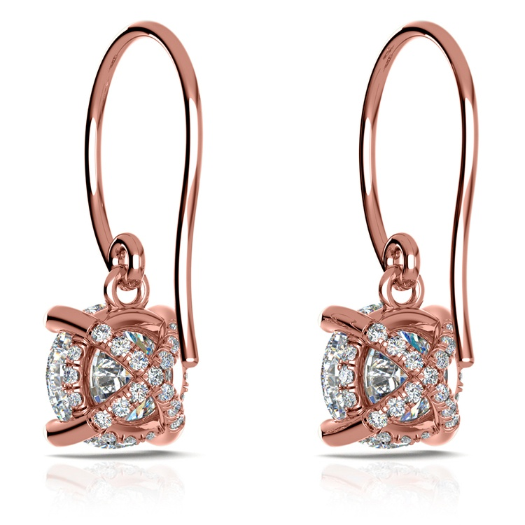 French Wire Drop Earring Settings with Diamond Basket in Rose Gold | 02