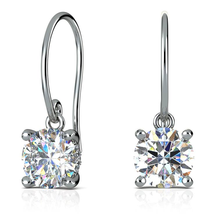 French Wire Drop Earring Settings With Diamond Basket In White Gold