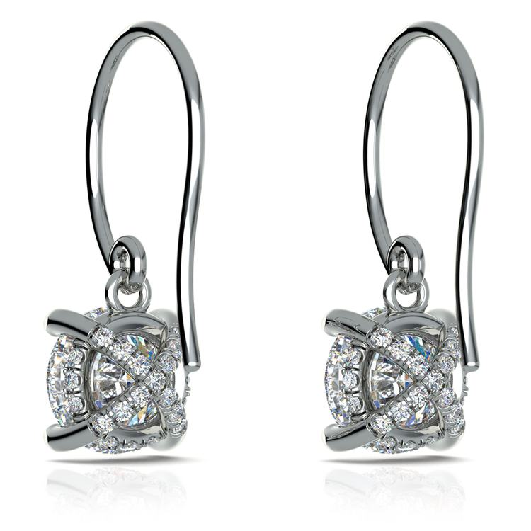 French Wire Drop Earring Settings with Diamond Basket in White Gold | 02