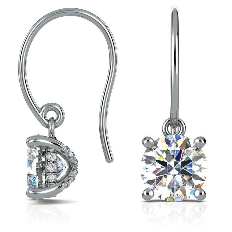 French Wire Drop Earring Settings with Diamond Basket in White Gold | 03