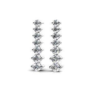 Graduated Diamond Dangle Earrings in White Gold (1 ctw)