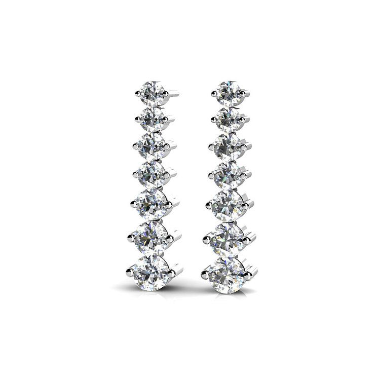 Graduated Diamond Dangle Earrings in White Gold (1 ctw) | 01
