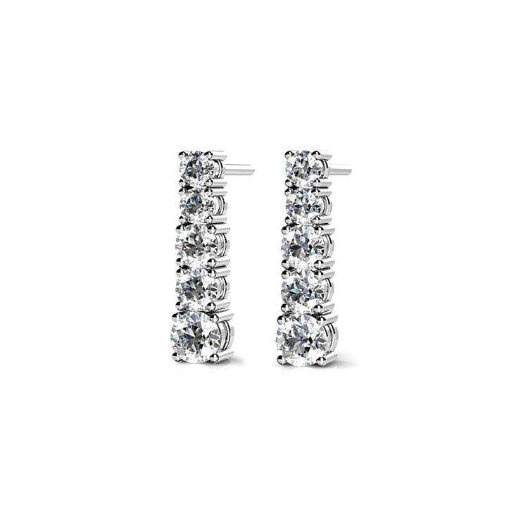 Graduated Diamond Dangle Earrings in White Gold (1/2 ctw) | 01