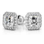 Halo Asscher Diamond Earring Settings in Platinum | Thumbnail 01