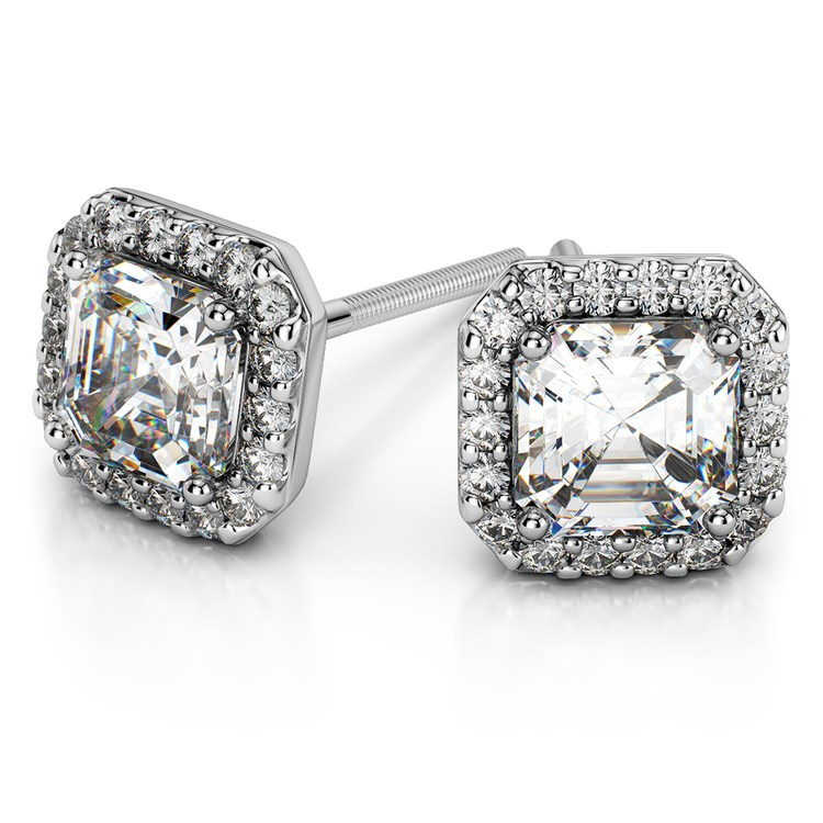 Halo Asscher Diamond Earring Settings in Platinum | Zoom
