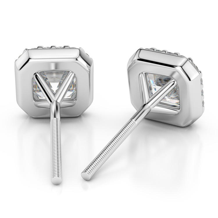 Halo Asscher Diamond Earring Settings in Platinum | 02