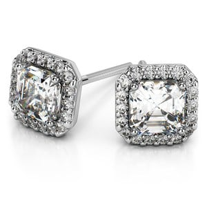 Halo Asscher Diamond Earring Settings in White Gold