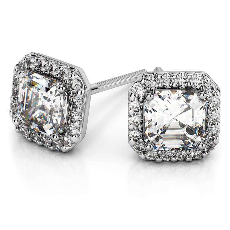 Halo Asscher Diamond Earring Settings in White Gold | 01