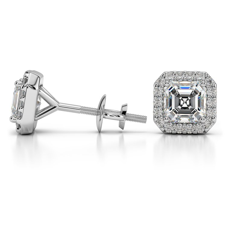 Halo Asscher Diamond Earring Settings in White Gold | 03