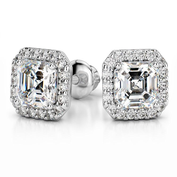 Halo Asscher Diamond Earring Settings in White Gold | 04