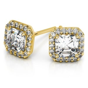 Halo Asscher Diamond Earring Settings in Yellow Gold