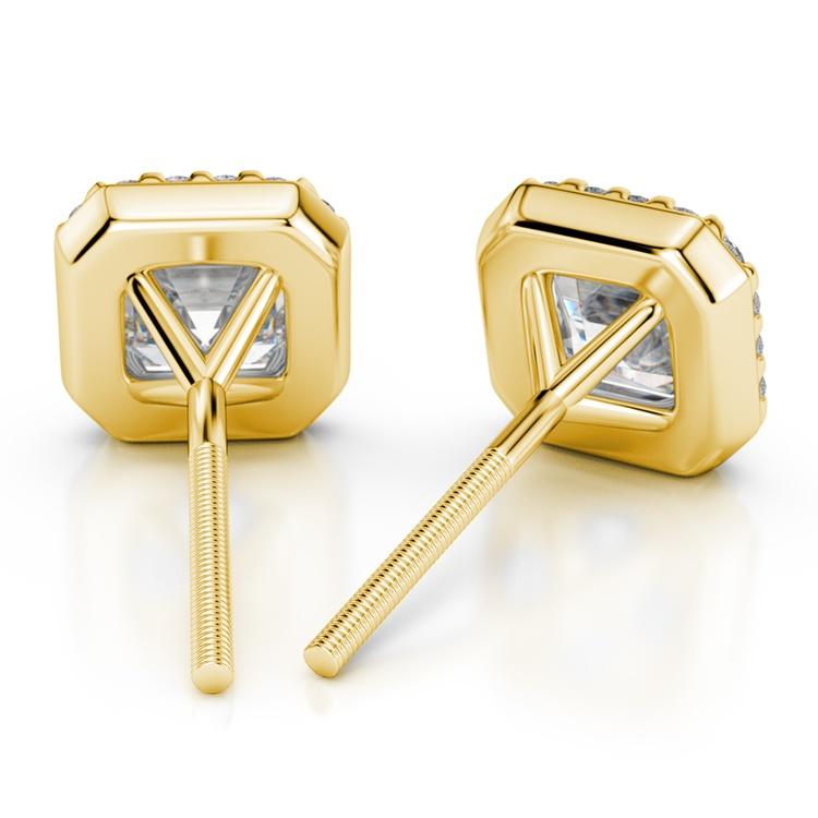 Halo Asscher Diamond Earring Settings in Yellow Gold | 02