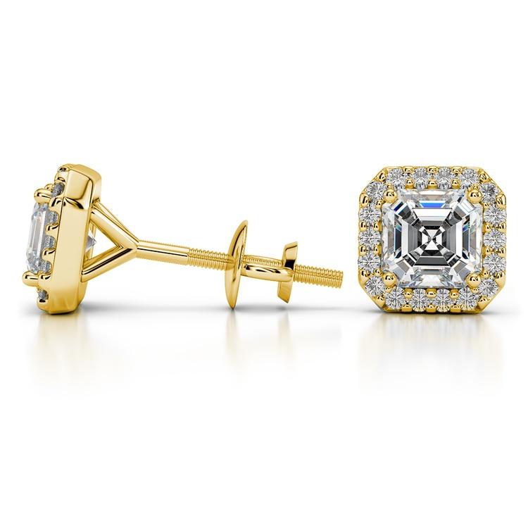 Halo Asscher Diamond Earring Settings in Yellow Gold | 03