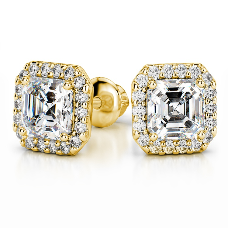 Halo Asscher Diamond Earring Settings in Yellow Gold | 04
