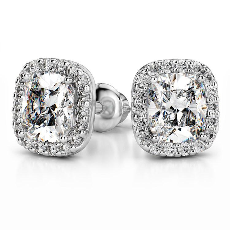 Halo Cushion Diamond Earring Settings in Platinum | 04