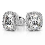 Halo Cushion Diamond Earring Settings in White Gold | Thumbnail 01