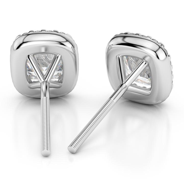 Halo Cushion Diamond Earring Settings in White Gold | 02