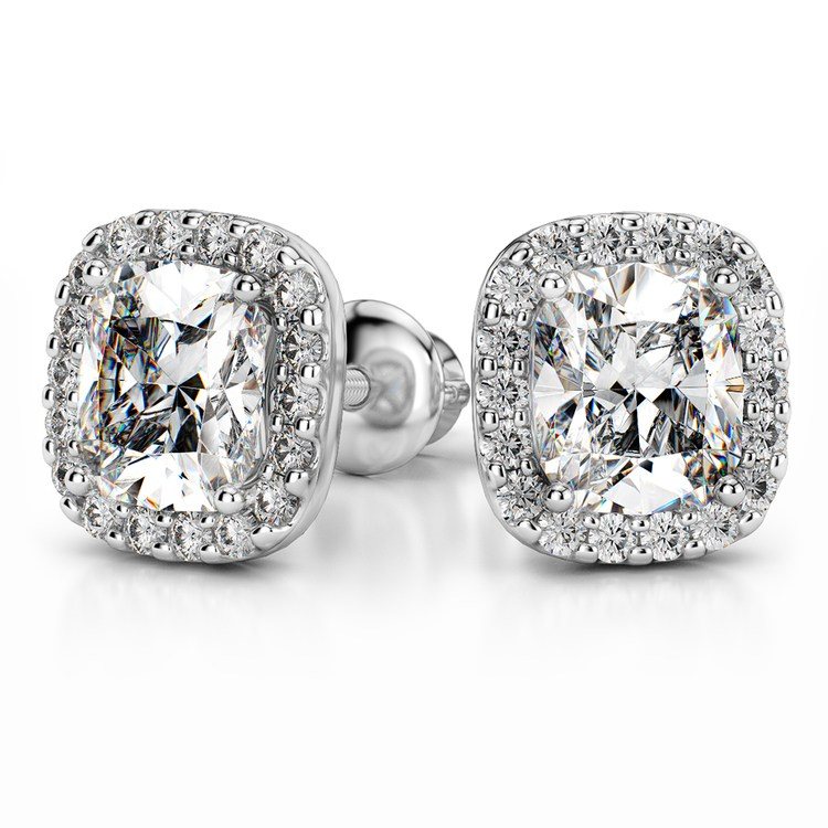 Halo Cushion Diamond Earring Settings in White Gold | 04