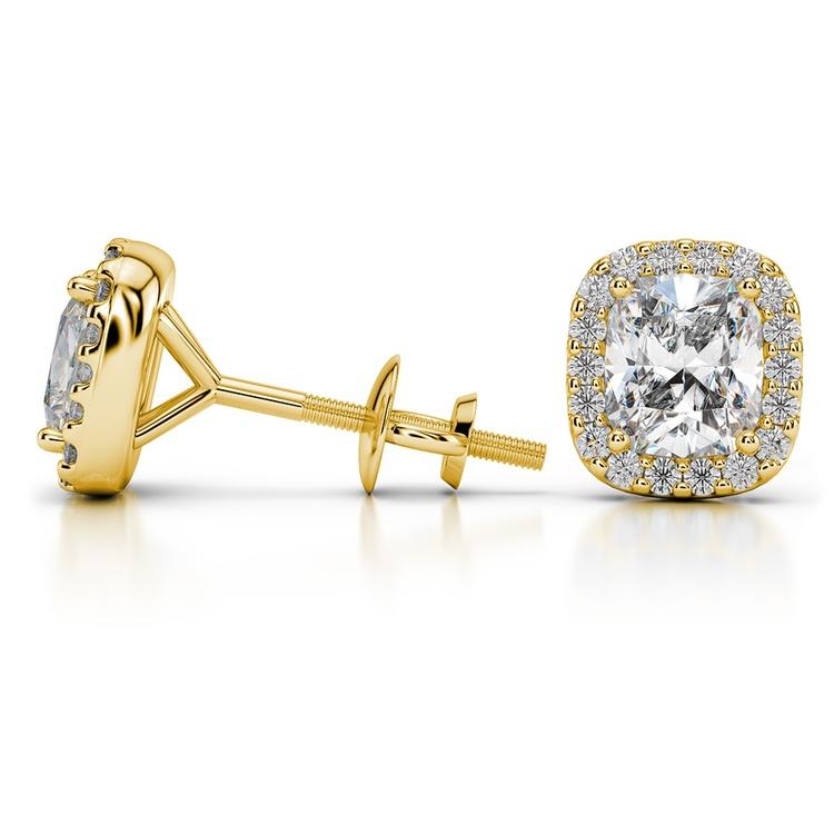 Halo Cushion Diamond Earring Settings in Yellow Gold | 03